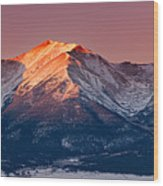 Mount Princeton Moonset At Sunrise Wood Print
