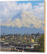 Mount Rainer Over Port Of Tacoma Wood Print