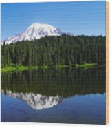 Mount Rainer Reflecting Into Reflection Lake Wood Print