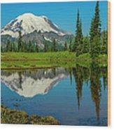Majestic Reflection - Mount Rainier - 2 Wood Print