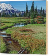 Mount Rainier- Upper Tipsoo Lake Wood Print
