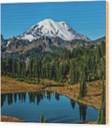 Natures Reflection - Mount Rainier Wood Print