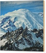 Early Snow - Mount Rainier  Wood Print