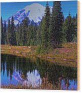 Mount Rainier And Tipsoo Lake Wood Print