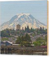 Mount Rainier At Tacoma Waterfront Wood Print