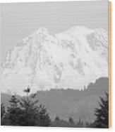 Mount Rainier Black And White Wood Print