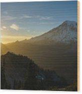 Mount Rainier Dusk Fallen Wood Print