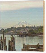 Mount Rainier From City Of Tacoma Washington Waterfront Wood Print