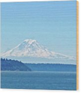 Mount Rainier From Puget Sound Wood Print