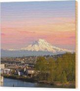 Mount Rainier From Tacoma Marina Wood Print