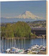 Mount Rainier From Thea Foss Waterway In Tacoma Wood Print