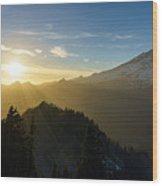 Mount Rainier Golden Dusk Light Wood Print