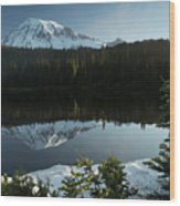 Mount Rainier Reflection Lake W/ Tree Wood Print