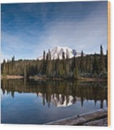 Mount Rainier Reflection Wood Print