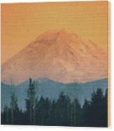 Mount Rainier, Sunset Wood Print