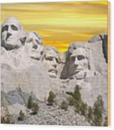 Mount Rushmore 11 Digital Art Wood Print