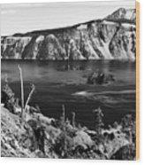 Mount Scott Behind Crater Lake B W Wood Print