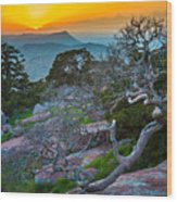 Mount Scott Sunset Wood Print