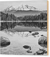 Mount Shasta From Lake Siskiyou In California Wood Print