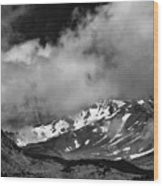 Mount Shasta In Black And White Wood Print