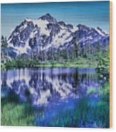 Mount Shuksan And Picture Lake Wood Print