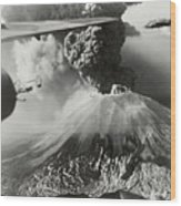 Mount Vesuvius Coughs Up Ash And Smoke Wood Print by Us Army Air Forces Official