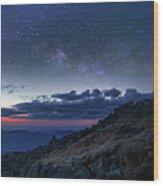 Mount Washington Summit Milky Way Panorama Wood Print