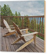 Mountain Adirondack Chairs Wood Print