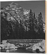 Mountain And Bridge Black And White Wood Print