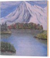 Mountain And Lake Wood Print
