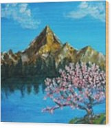 Mountain And Pink Tree Wood Print