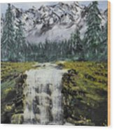 Mountain And Waterfall  Wood Print