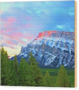 Mountain At Dawn Wood Print