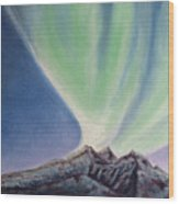 Mountain Aurora Wood Print
