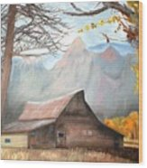 Mountain Barn Wood Print