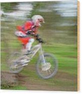 Mountain Bike Rider Wood Print