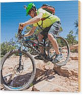 Mountain Biker On The Porcupine Rim Trail Near Moab Wood Print