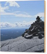Mountain Cairn Wood Print
