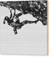 Mountain Climber-black Wood Print