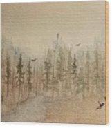 Mountain Evergreens Wood Print