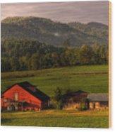 Mountain Farm Wood Print