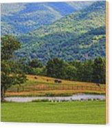 Mountain Farm With Pond Wood Print
