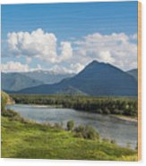 Mountain Filaretka Over Katun River. Altay Wood Print