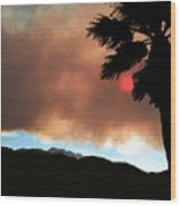 Mountain Fire Sunset Wood Print