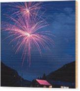 Mountain Fireworks Landscape Wood Print