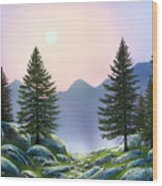 Mountain Firs Wood Print
