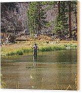Mountain Fisherman Wood Print