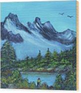 Mountain Fishing Lake Wood Print