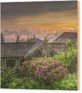Mountain Flowers At Sunrise Wood Print
