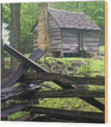 Mountain Homestead Wood Print